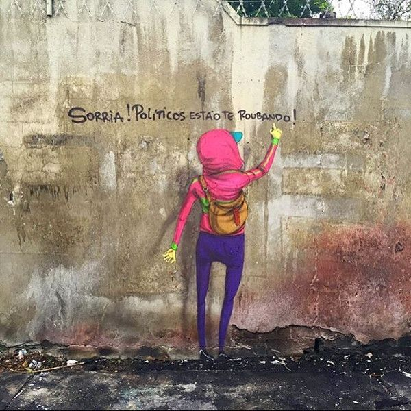 Os Gemeos - Smile! Politicians are robbing you! - Sao Paulo, Brazil, 2016