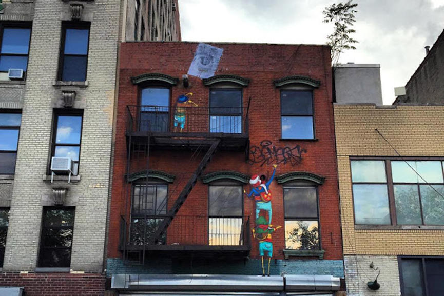 Os Gemeos and JR collaboration, New York, 2015
