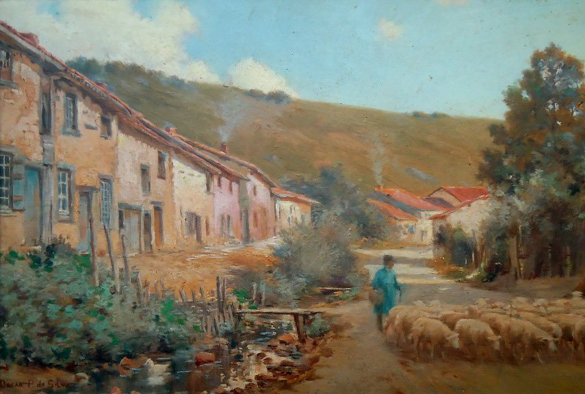 Oscar Pereira da Silva - Road and Stream With a Shepherd - Image via wikimediaorg