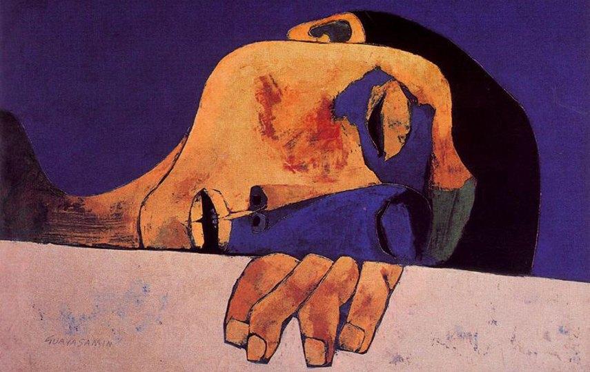 Oswaldo Guayasamin - Nino Dormido, 1978 - image via pintura.aut.org guayasamín artist american guayasamín artist american