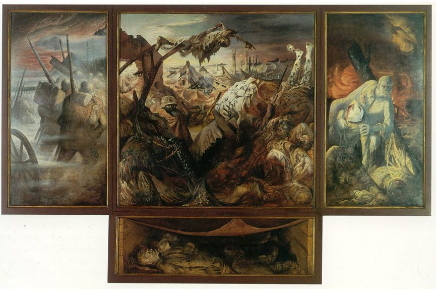 German painter Otto Dix was a soldier in WW1 and his work also predicts the 1941 and 1945 war