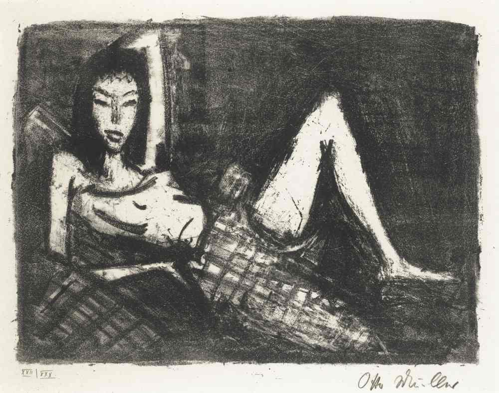 Otto Mueller-Madchen Auf Dem Kanapee-1921