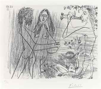 Pablo Picasso-Amoureux, Flutiste et Mangeurs de Pasteques, from: Series 347-1968