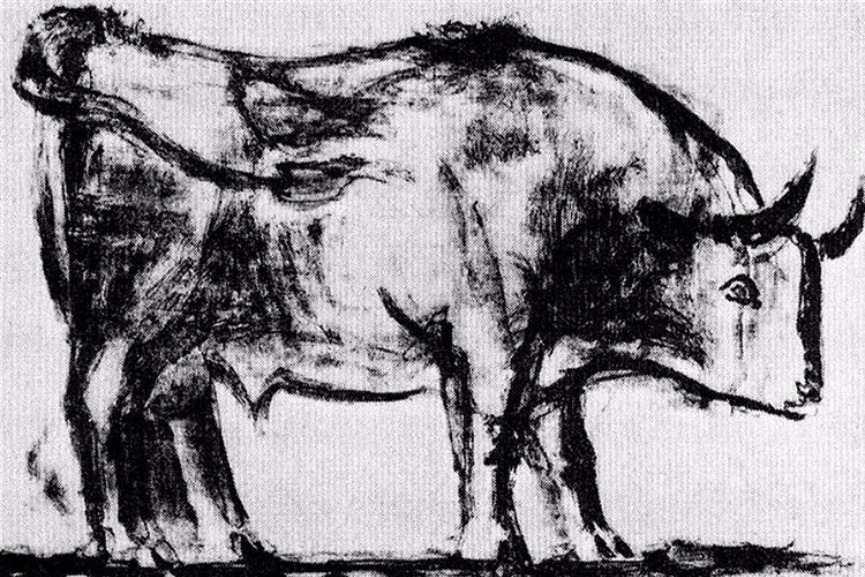 Pablo Picasso - Bull, plate I, 1945 via wikimedia