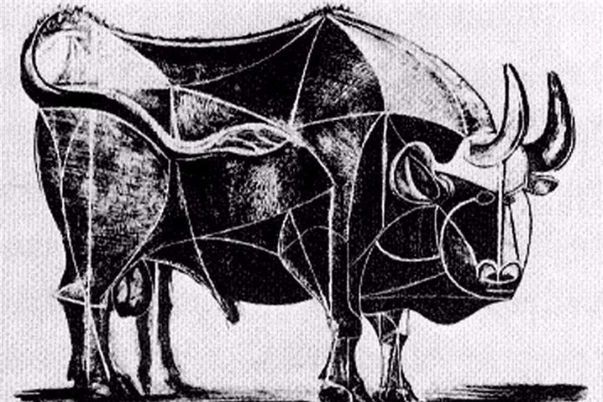 Pablo Picasso - Bull, plate IV, 1945 via wikimedia