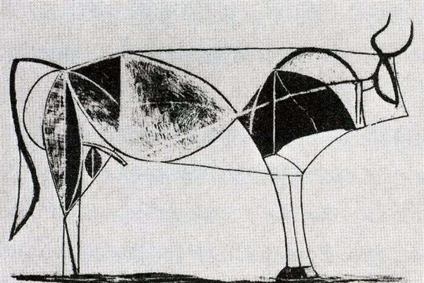 Pablo Picasso - Bull, plate VII, 1945 via wikimedia