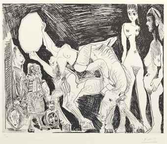 Pablo Picasso-Cirque: Ecuyere, Femmes et Spectateurs, from La Serie 347-1968