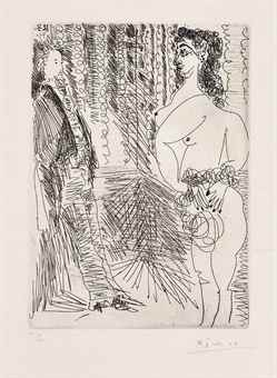 Pablo Picasso-Degas Viewing Nude from the Left Side, from Series 156-1971
