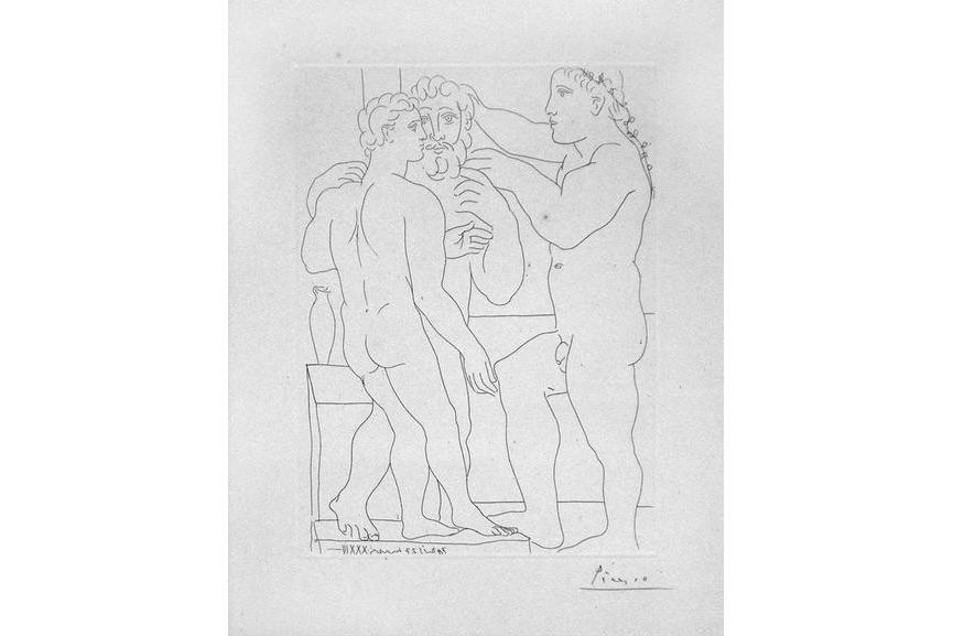 Pablo Picasso - Deux Hommes Sculptes - Three Nude Men Standing, 1933