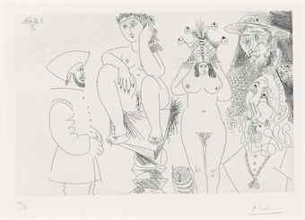 Pablo Picasso-Deux femmes dont une sur une sellette, from La Serie 347-1968