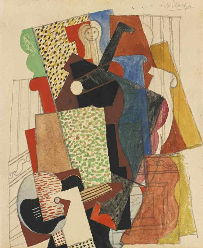 Pablo Picasso-Femme A La Guitare Dans Un Fauteuil-1915