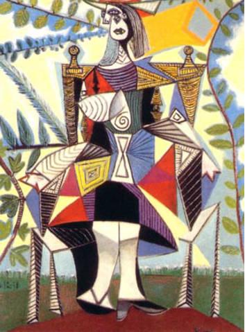Pablo Picasso-Femme assise dans un jardin-1938