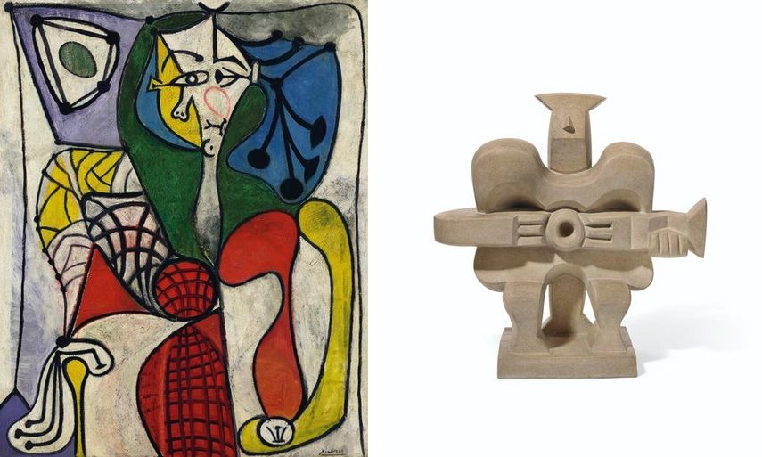 Pablo Picasso - Femme dans un fauteuil (Françoise), 1949, Jacques Lipchitz - Homme à la guitare, circa 1960, on view in the upcoming 2019 Christie's auction