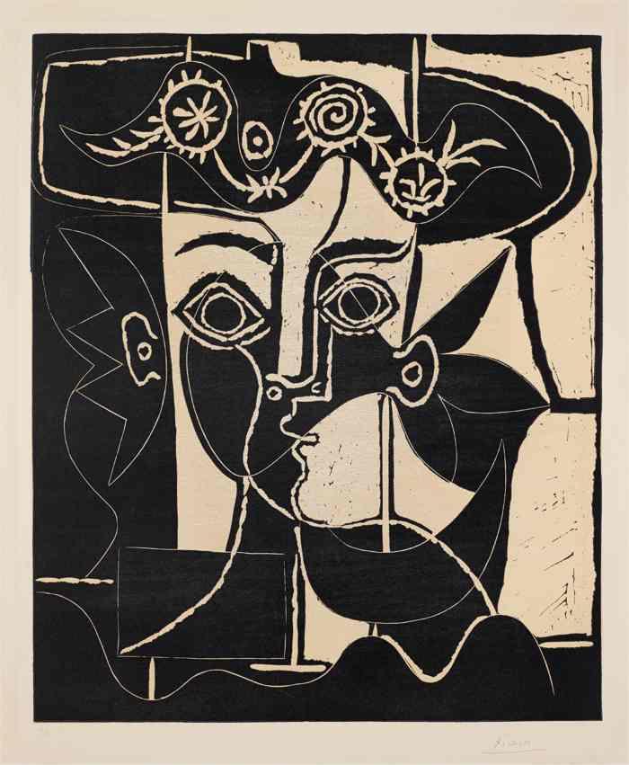 Pablo Picasso-Grande tete de femme au chapeau orne (Large Head of a Woman with Decorated Hat)-1962