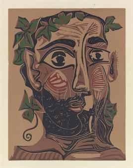 Pablo Picasso-Homme barbu couronne de feuillage de vigne-1962