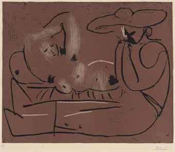 Pablo Picasso-Homme barbu couronne de feuilles de vigne-1962