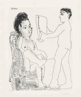 Pablo Picasso-Jeune Homme presentant un Miroir, ou un portrait, a une Femme, from La Serie 347-1968
