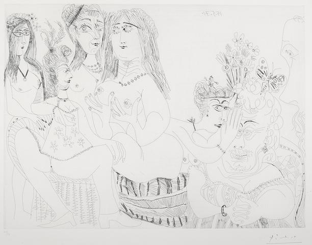 Pablo Picasso-La Fete de la patronne ces dames medisent de Degas reduit a un tiers de profil pl. 127 from Series 156-1971