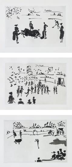 Pablo Picasso-La Tauromaquia (Bullfighting): plates XIII; XXII; and XXIV-1959