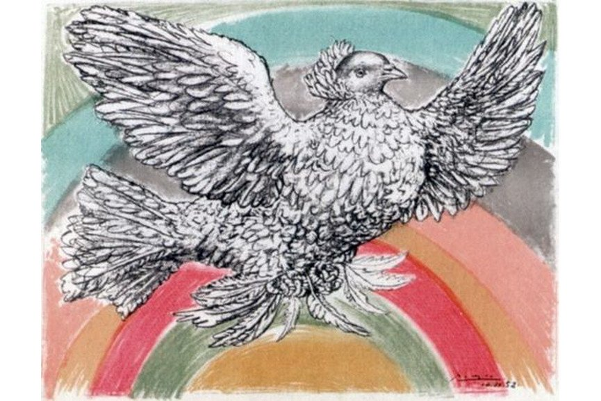Pablo Picasso - Le Colomb Volant - The Flying Dove with a rainbow
