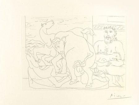 Pablo Picasso-Le Repos Du Sculpteur Devant Des Chevaux Et Un Taureau-1933
