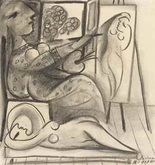 Pablo Picasso-Le peintre et son modele-1933