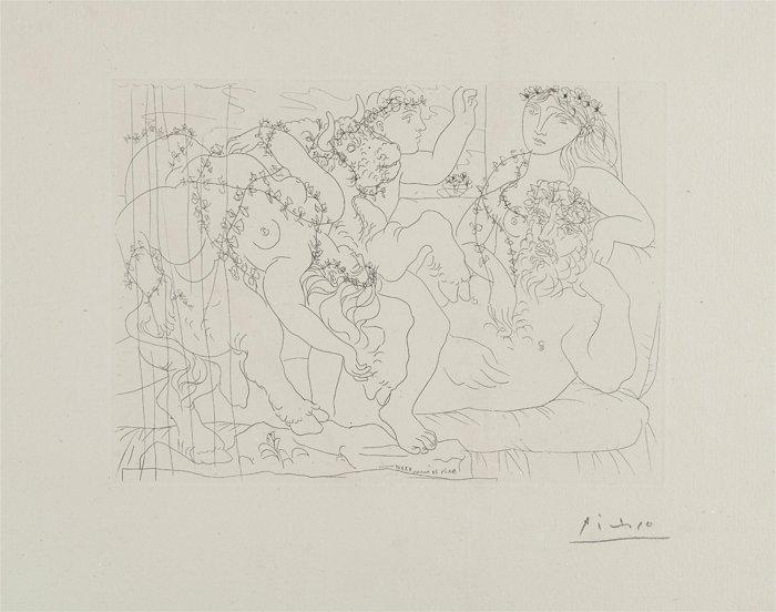 Pablo Picasso-Le repos du sculpteur devant une bacchanale au taureau (Resting Sculptor Before a Bacchanal Bull), plate 56 from La suite Vollard-1933