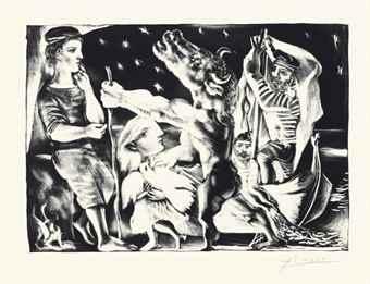 Pablo Picasso-Minotaure aveugle guide par Marie-Therese au pigeon dans une nuit etoilee, from La Suite Vollard-1934