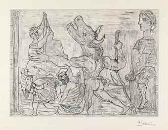 Pablo Picasso-Minotaure aveugle guide par une Fillette III, from La Suite Vollard-1934