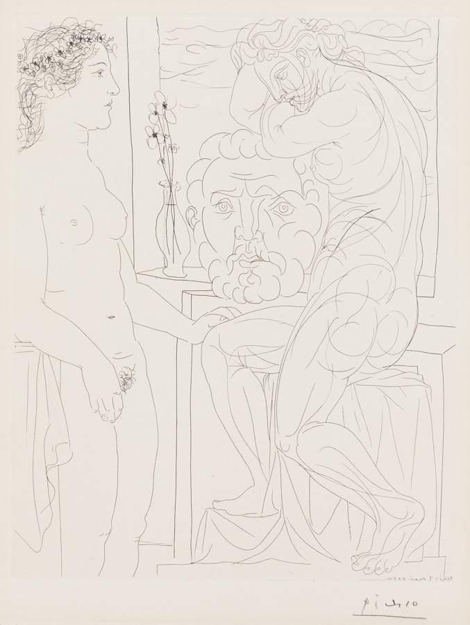 Pablo Picasso-Modele Nu Et Sculpteurs-1933
