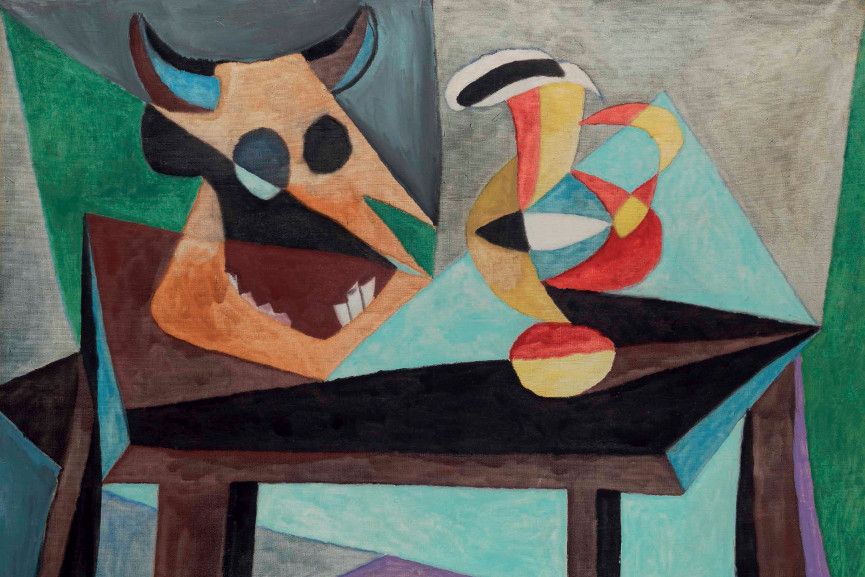 Pablo Picasso - Nature morte Tête de taureau, signed and dated 'Picasso 15.1.39.' (lower center) oil on canvas, Painted on 15 January 1939