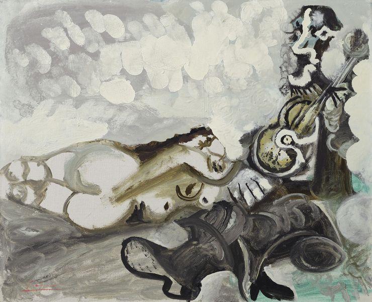 Pablo Picasso - Nu couché et musicien, 1967