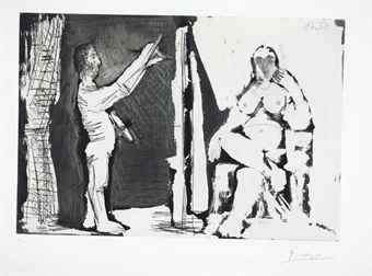 Pablo Picasso-Peintre debout et modele-1964