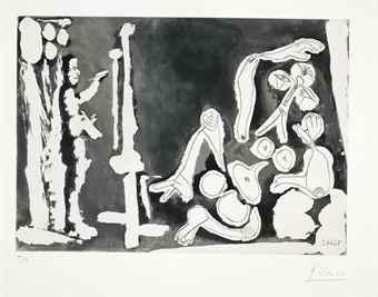 Pablo Picasso-Peintre et modele appuye sur un coussin-1964
