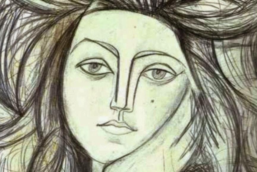 Pablo Picasso - Portrait of Françoise, 1954, detaill