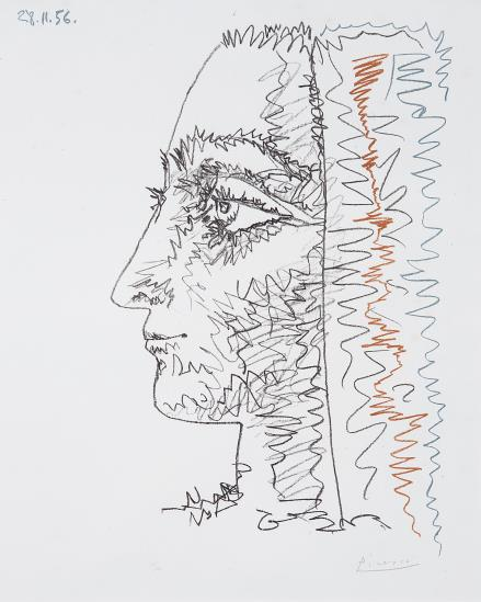 Pablo Picasso-Profil en trois couleurs (Profile in Three Colours)-1956