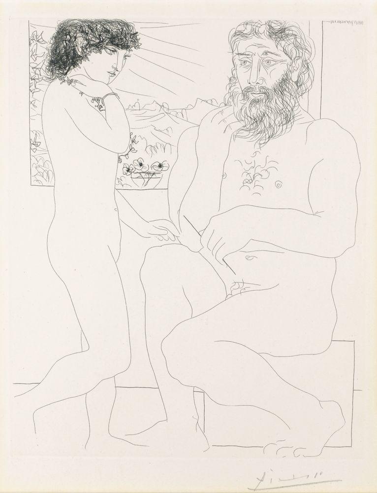 Pablo Picasso-Sculpteur Et Modele Debout-1933