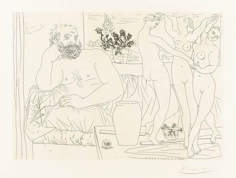 Pablo Picasso-Sculpteur Et Trois Danseuses Sculptees-1934