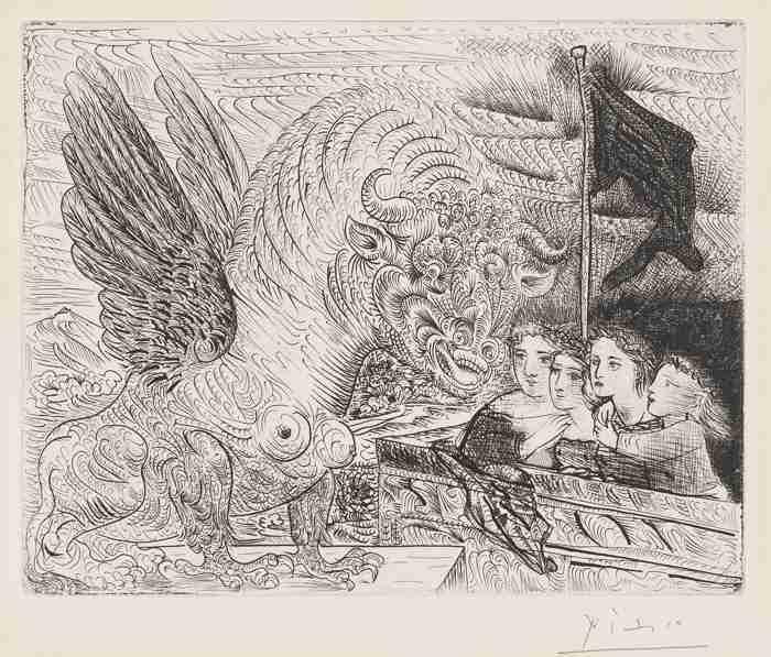Pablo Picasso-Taureau Aile Contemple Par Quatre Enfants-1934