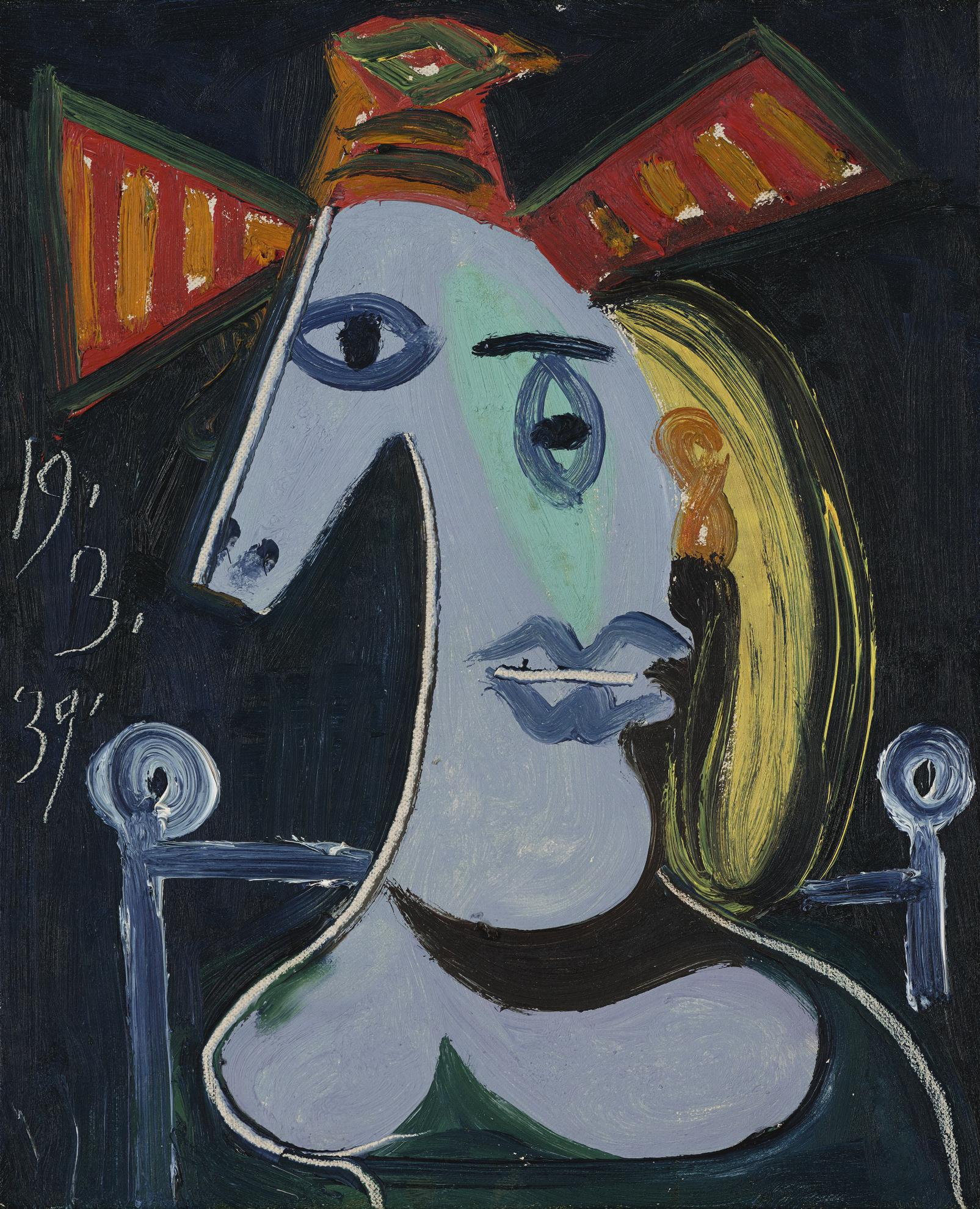 Pablo Picasso-Tete De Femme Au Chapeau Orange-1939
