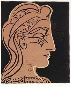 Pablo Picasso-Tete de Femme (de Profil)-1959