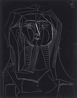 Pablo Picasso-Tete sur Fond noir-1953