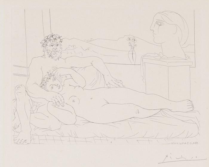Pablo Picasso-Vieux Sculpteur Et Jeune Modele Avec Le Portrait Sculpte Du Modele-1933