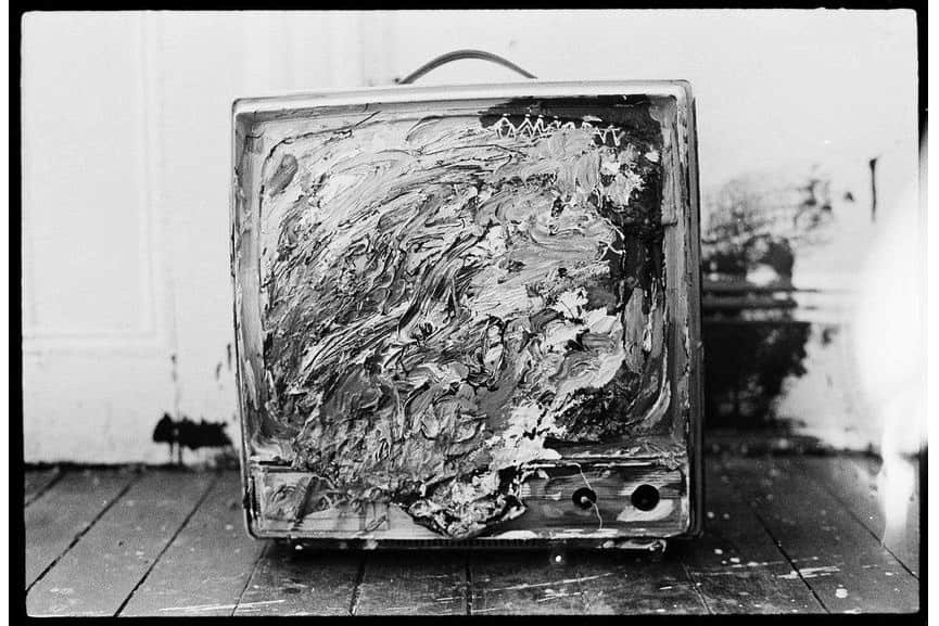 Painted television in the apartment, c. 1979–1980
