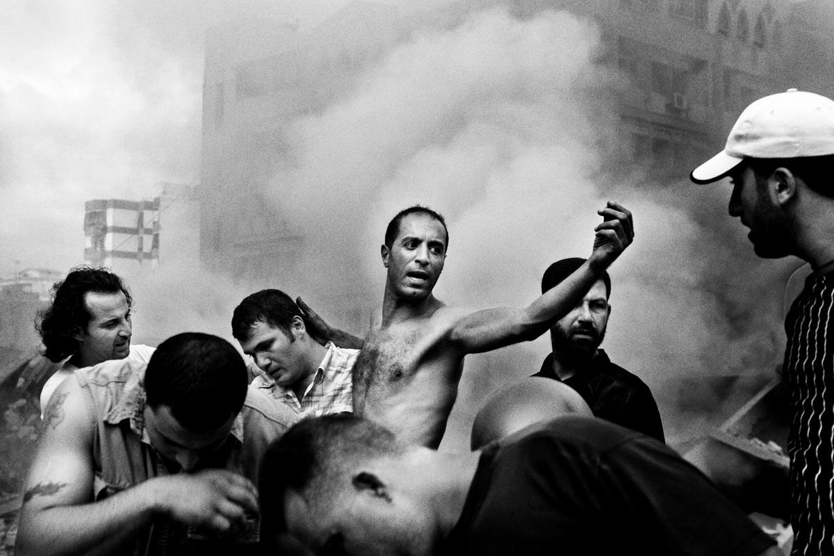 Paolo Pellegrin - Moments after an Israeli air strike destroyed several buildings in Dahia. Beirut