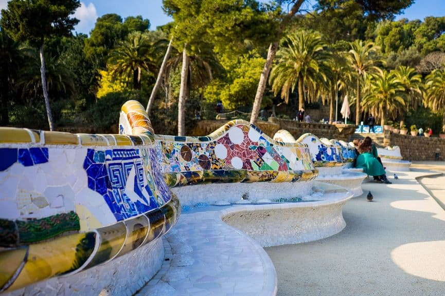 Antoni Gaudi architecture - Park Güell in the city of Barcelona