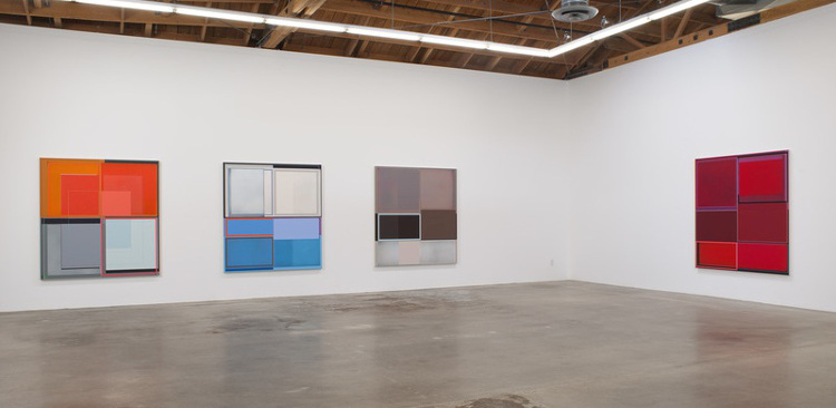 Patrick Wilson - Steak Night show, 2014, Susanne Vielmetter Los Angeles Projects, installation view, photo courtesy of Susanne Vielmetter LA Projects, abstract art, acrylic canvas paintings