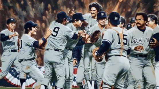 Paul Calle - Reggie Jackson and the New York Yankees (World Series 2), 1979 (detail)