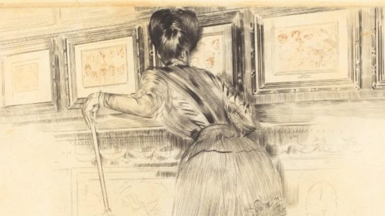 Paul Cesar Helleu - In Front of the Watteaus in the Louvre, 1895 (detail)
