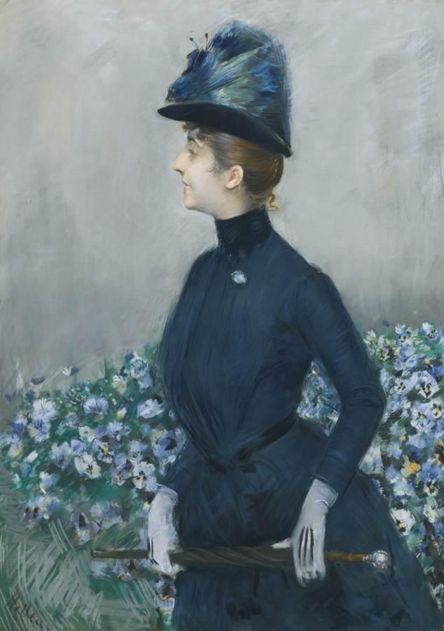 Paul Cesar Helleu-La Femme Aux Fleurs (Portrait Of Mathilde See)-